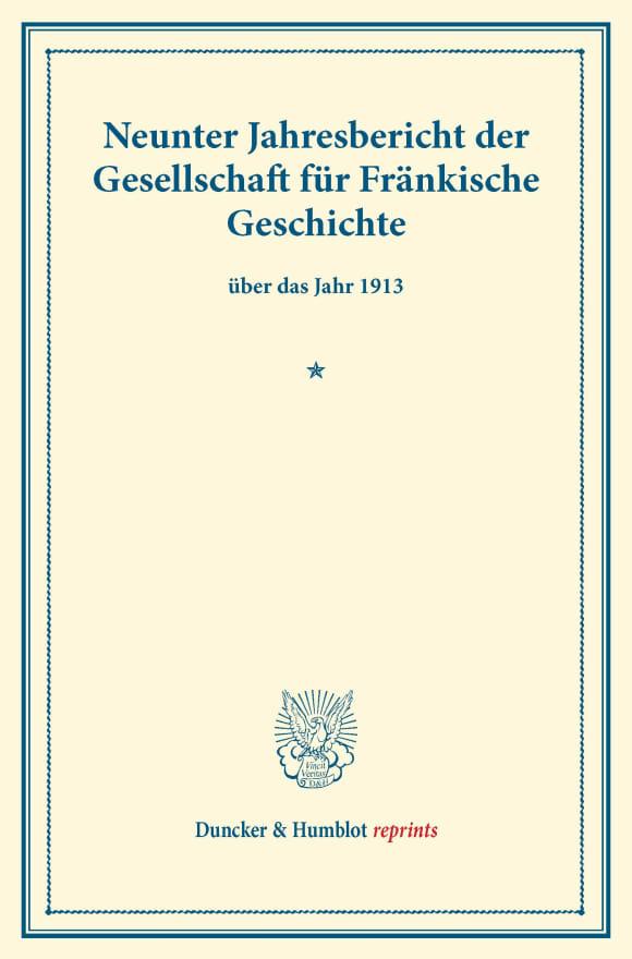Cover Neunter Jahresbericht der Gesellschaft für Fränkische Geschichte
