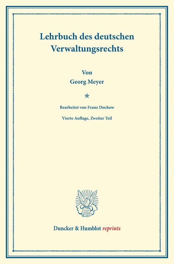 Cover Lehrbuch des deutschen Verwaltungsrechts