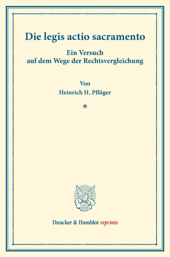 Cover Die legis actio sacramento