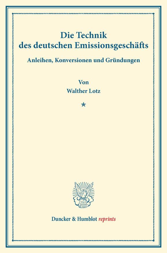 Cover Die Technik des deutschen Emissionsgeschäfts