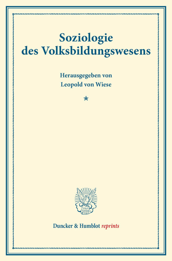 Cover Soziologie des Volksbildungswesens