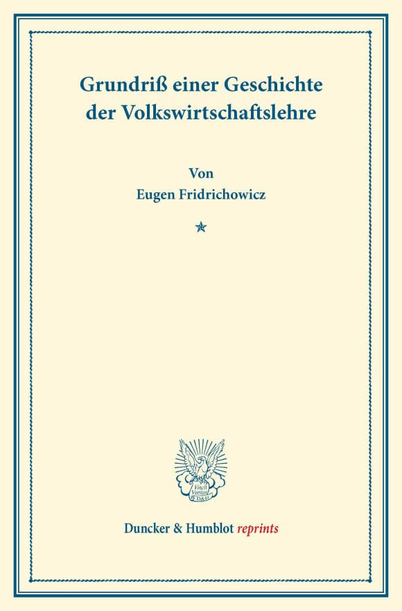 Cover Grundriß einer Geschichte der Volkswirtschaftslehre