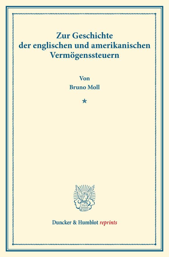 Cover Zur Geschichte der englischen und amerikanischen Vermögenssteuern