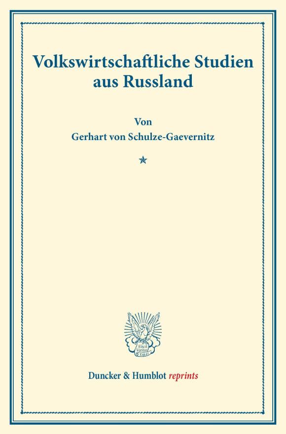 Cover Volkswirtschaftliche Studien aus Russland