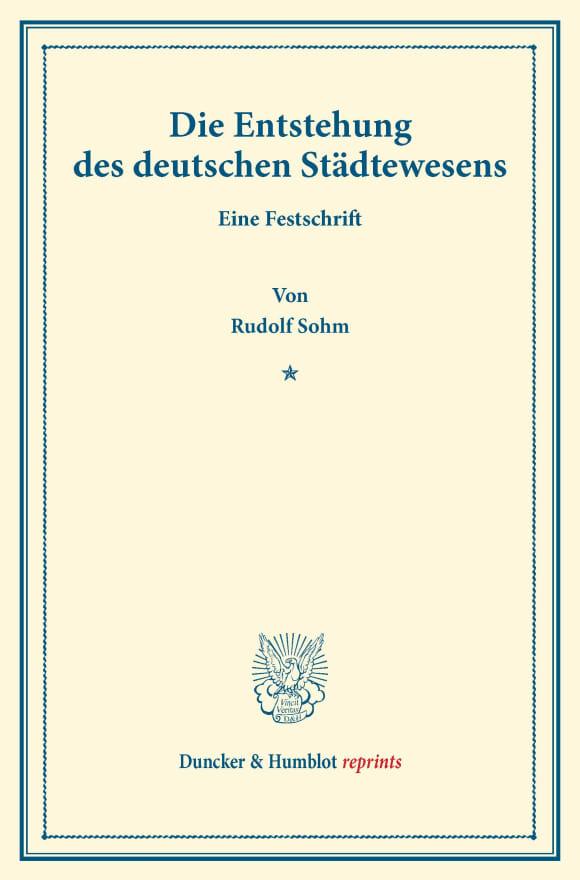 Cover Die Entstehung des deutschen Städtewesens