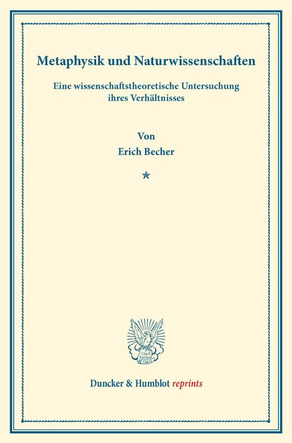 Cover Metaphysik und Naturwissenschaften