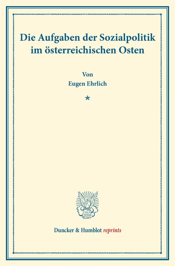 Cover Die Aufgaben der Sozialpolitik im österreichischen Osten