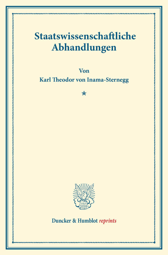 Cover Staatswissenschaftliche Abhandlungen