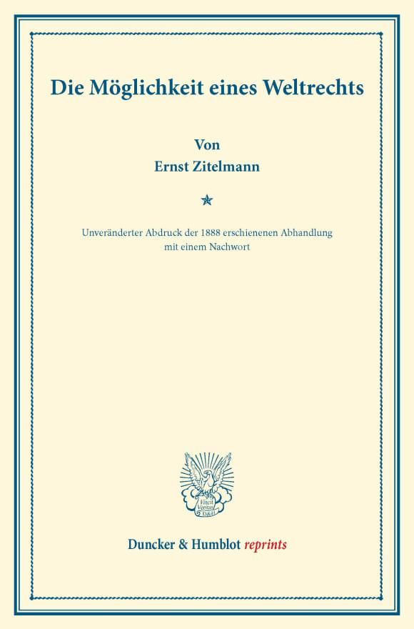 Cover Die Möglichkeit eines Weltrechts