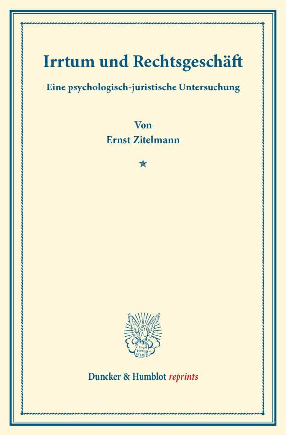 Cover Irrtum und Rechtsgeschäft