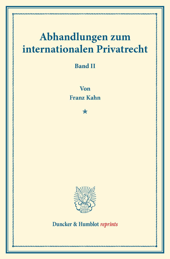 Cover Abhandlungen zum internationalen Privatrecht