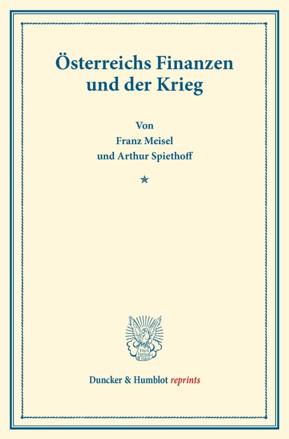 Cover Österreichs Finanzen und der Krieg