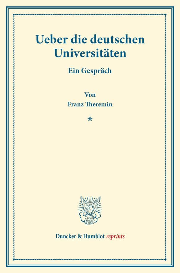 Cover Ueber die deutschen Universitäten