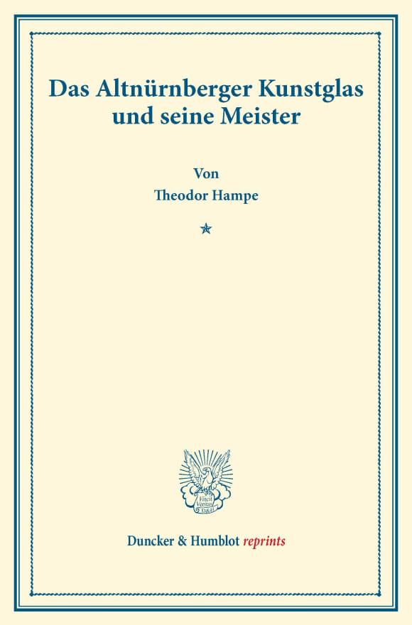 Cover Das Altnürnberger Kunstglas und seine Meister