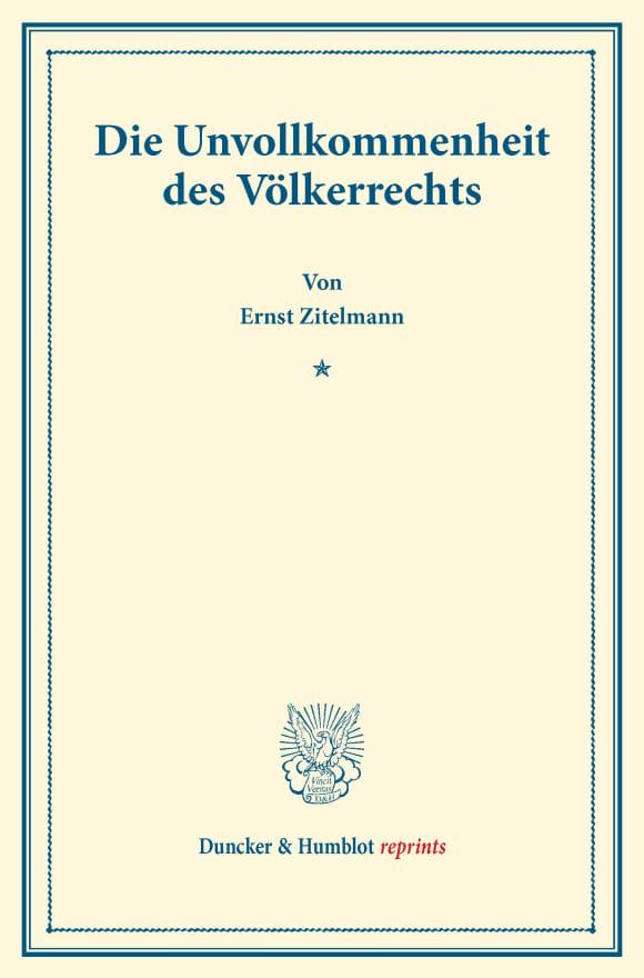 Cover Die Unvollkommenheit des Völkerrechts