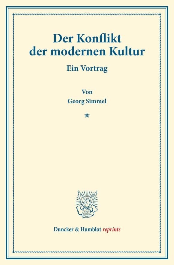 Cover Der Konflikt der modernen Kultur