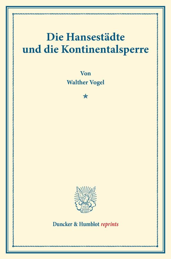 Cover Die Hansestädte und die Kontinentalsperre