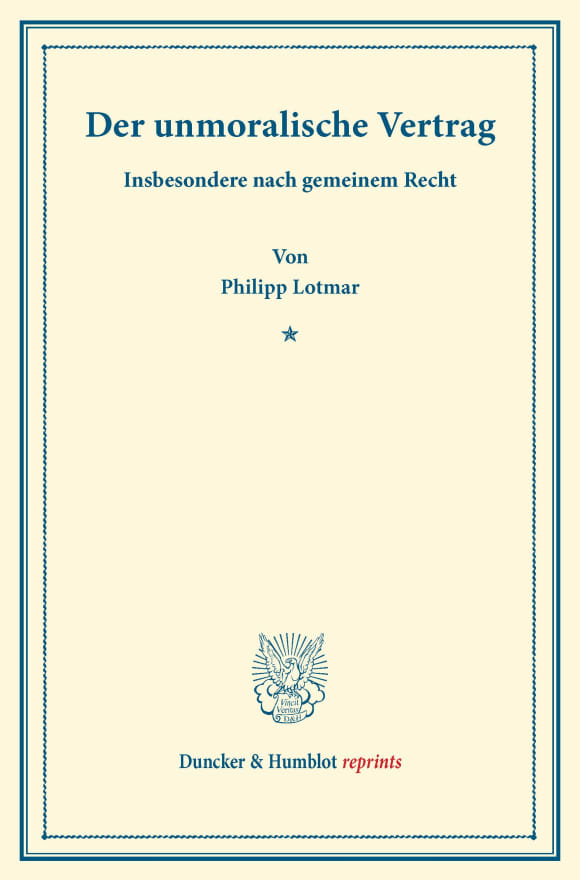 Cover Der unmoralische Vertrag