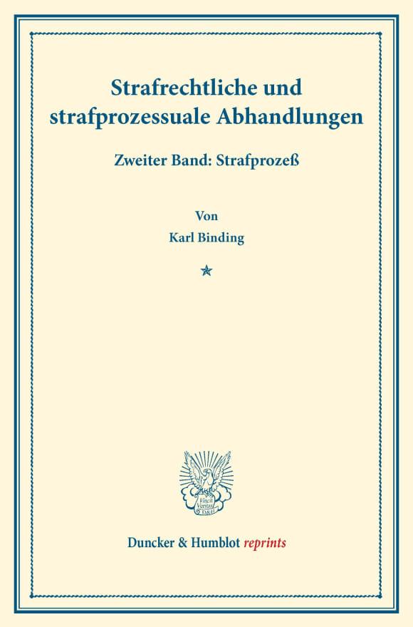 Cover Strafrechtliche und strafprozessuale Abhandlungen