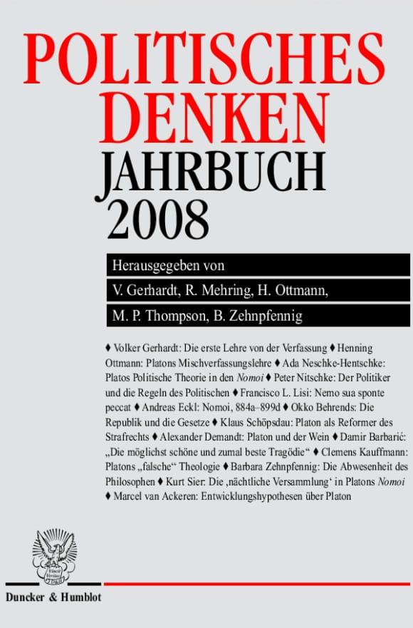 Cover Politisches Denken. Jahrbuch 2008