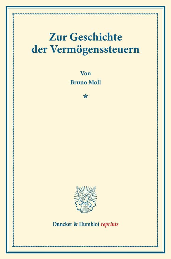 Cover Zur Geschichte der Vermögenssteuern