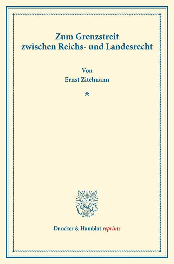 Cover Zum Grenzstreit zwischen Reichs- und Landesrecht