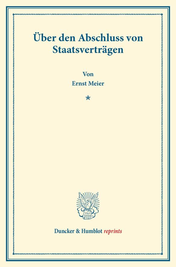 Cover Über den Abschluss von Staatsverträgen