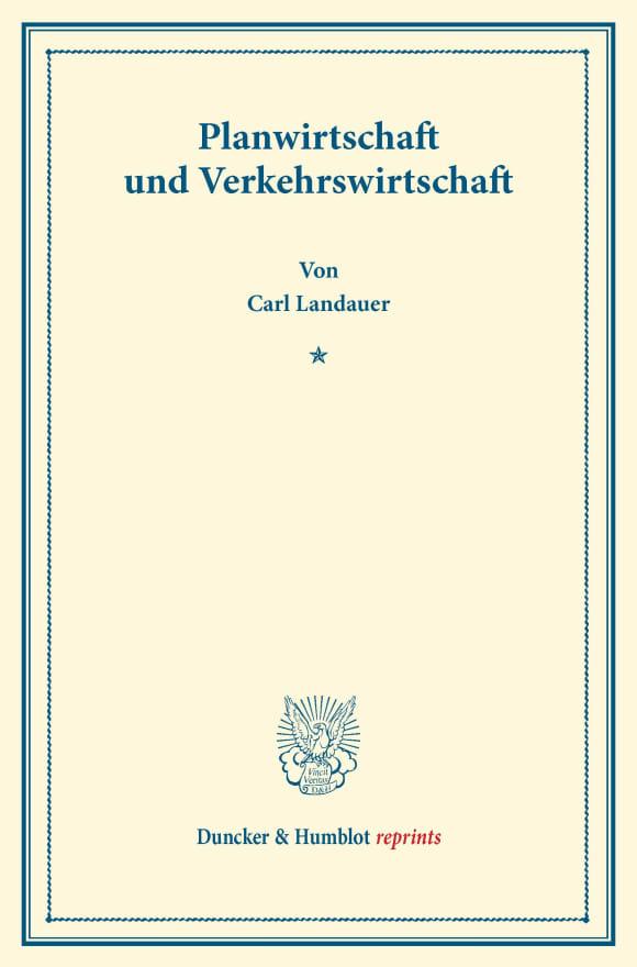 Cover Planwirtschaft und Verkehrswirtschaft