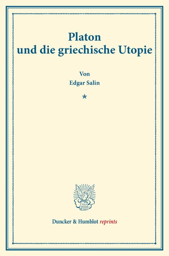 Cover Platon und die griechische Utopie