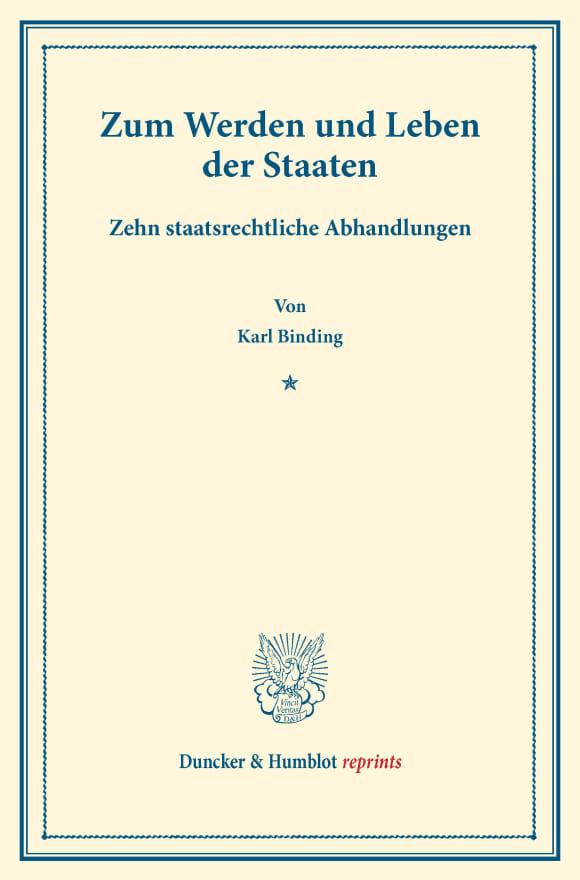 Cover Zum Werden und Leben der Staaten