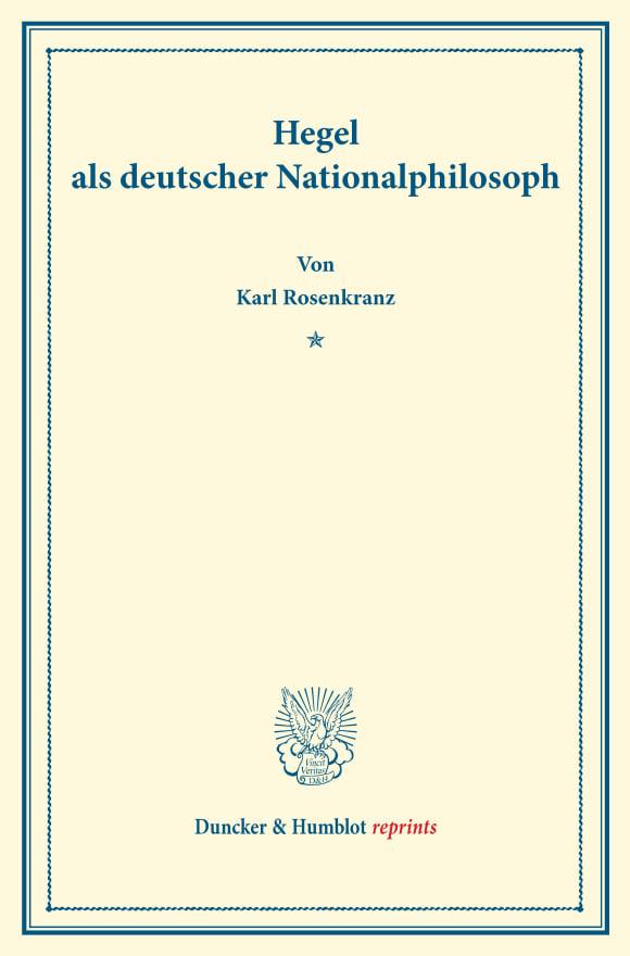 Cover Hegel als deutscher Nationalphilosoph