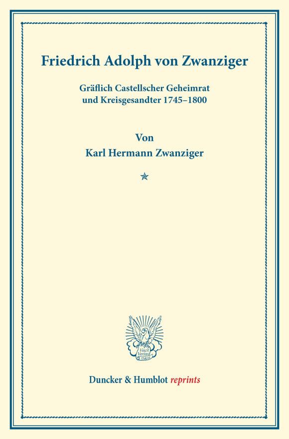 Cover Friedrich Adolph von Zwanziger,