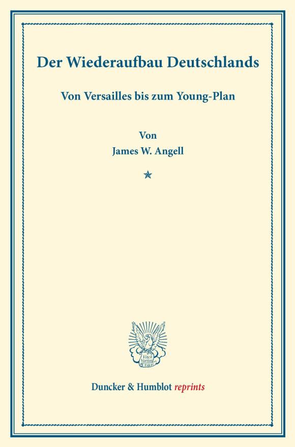 Cover Der Wiederaufbau Deutschlands