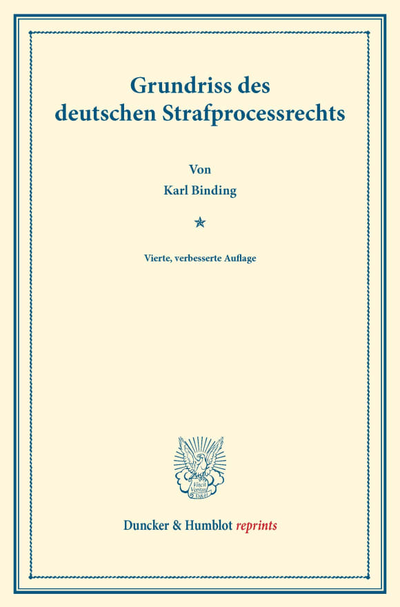 Cover Grundriss des deutschen Strafprocessrechts