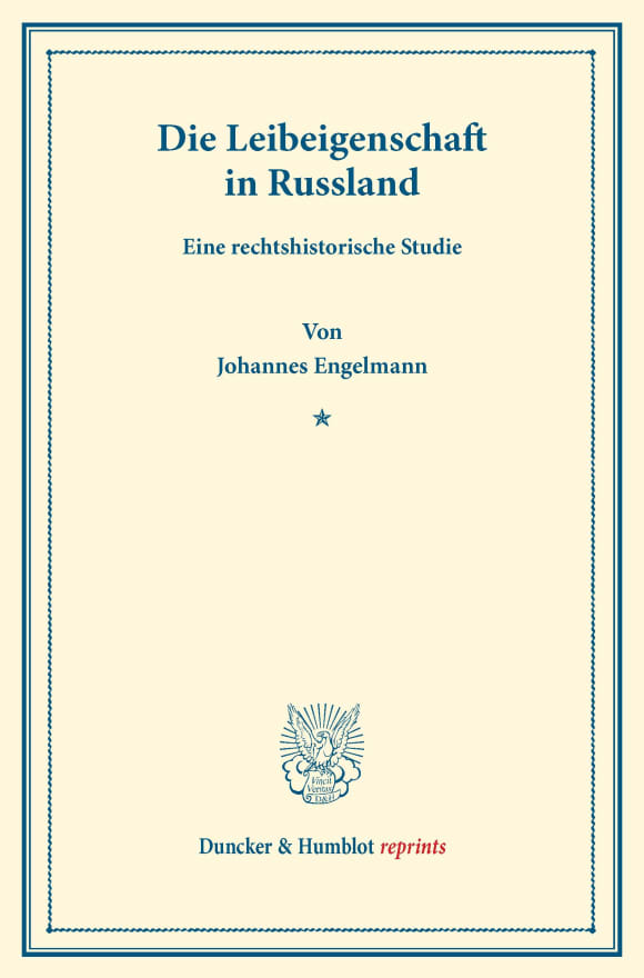 Cover Die Leibeigenschaft in Russland