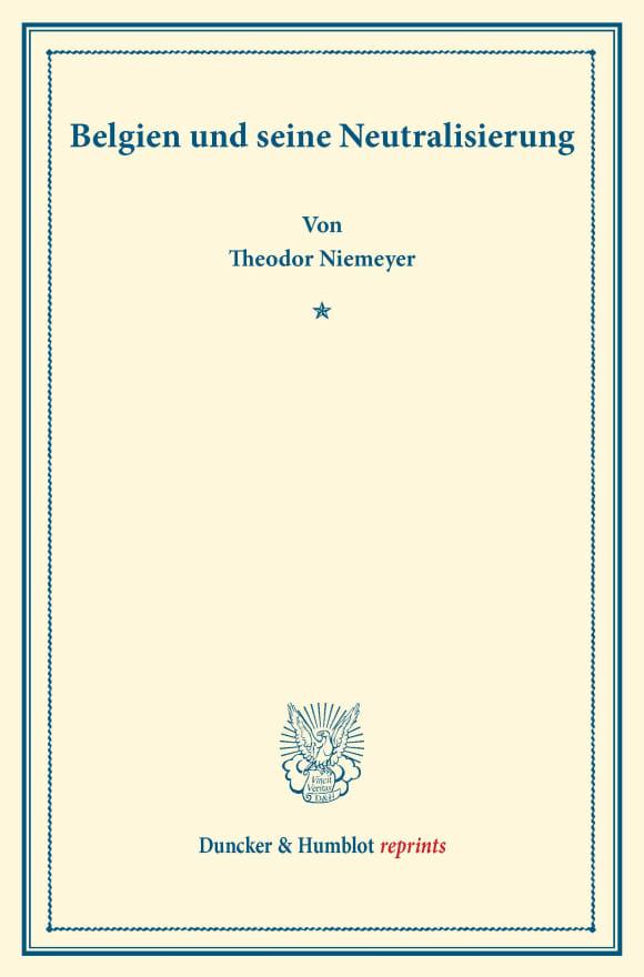 Cover Belgien und seine Neutralisierung