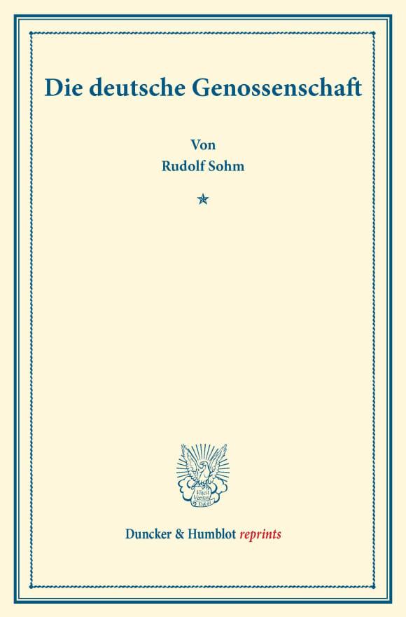 Cover Die deutsche Genossenschaft