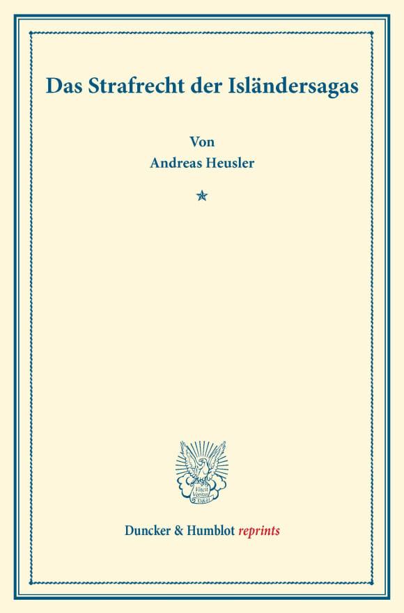 Cover Das Strafrecht der Isländersagas