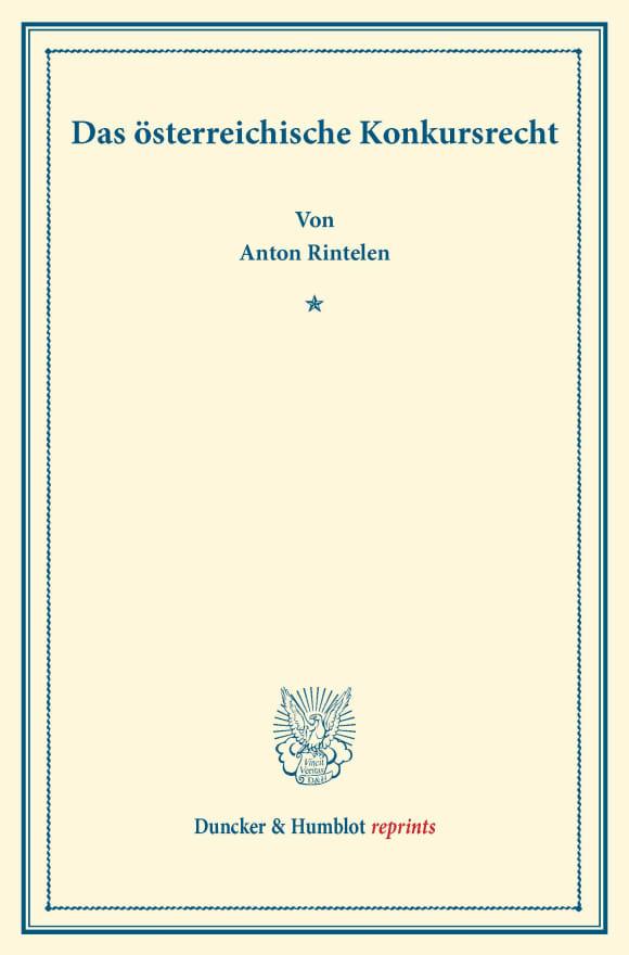 Cover Das österreichische Konkursrecht