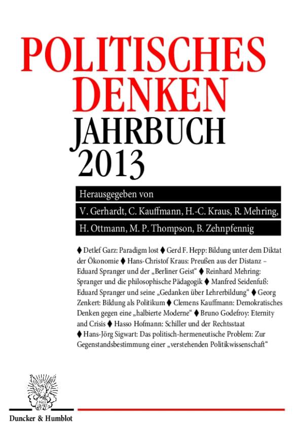 Cover Politisches Denken. Jahrbuch 2013