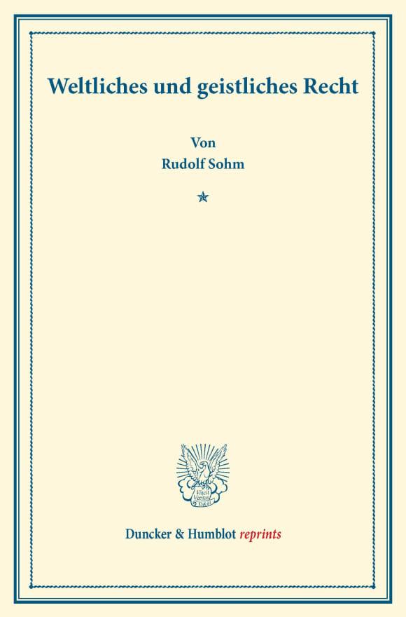 Cover Weltliches und geistliches Recht