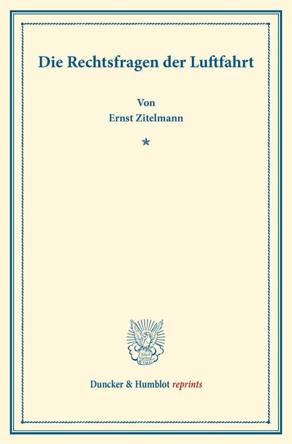 Cover Die Rechtsfragen der Luftfahrt