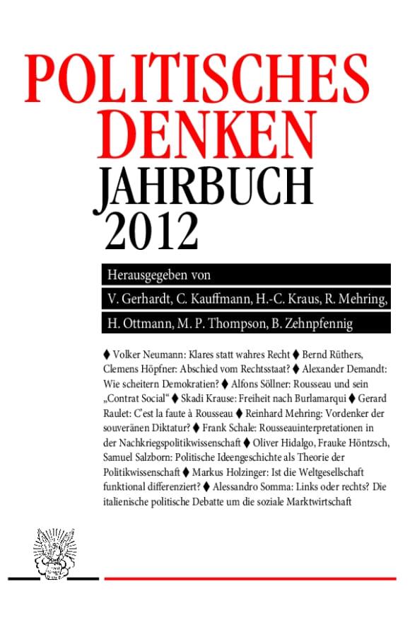 Cover Politisches Denken. Jahrbuch 2012