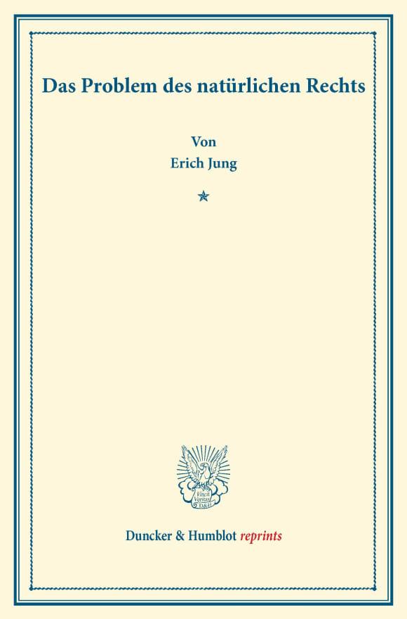 Cover Das Problem des natürlichen Rechts
