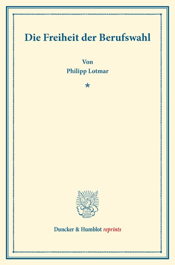 Cover Die Freiheit der Berufswahl