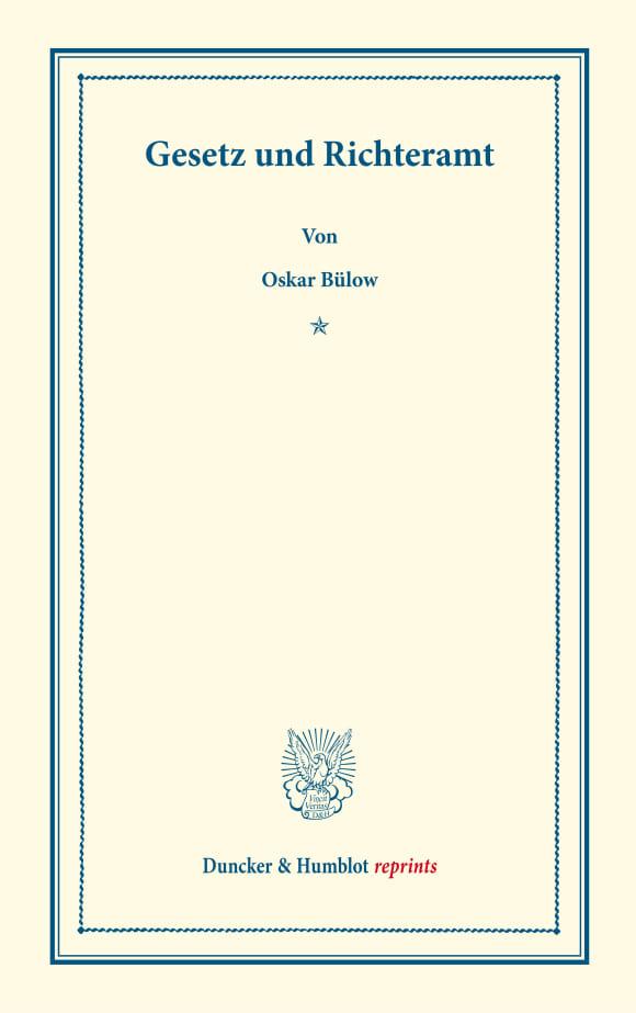 Cover Gesetz und Richteramt