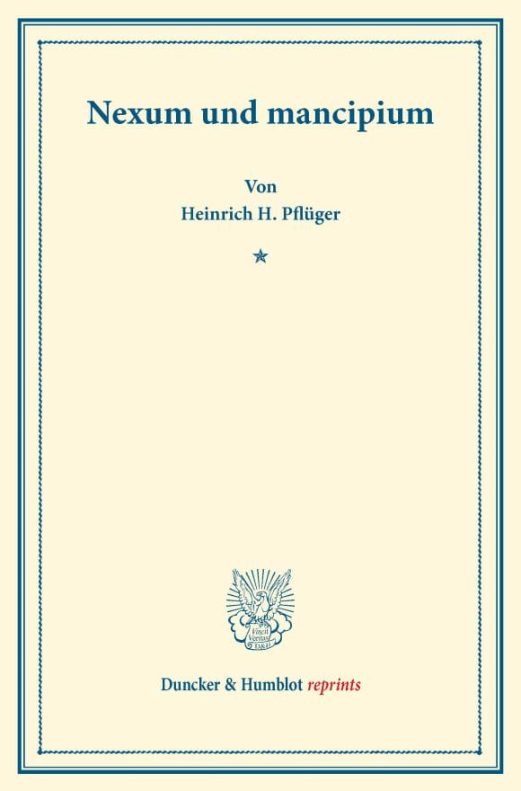 Cover Nexum und mancipium