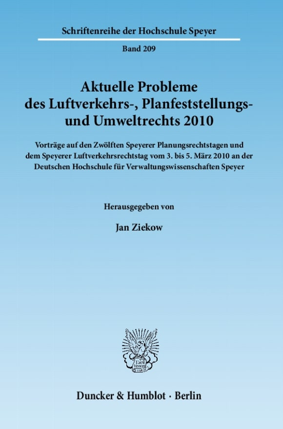 Cover Aktuelle Probleme des Luftverkehrs-, Planfeststellungs- und Umweltrechts 2010