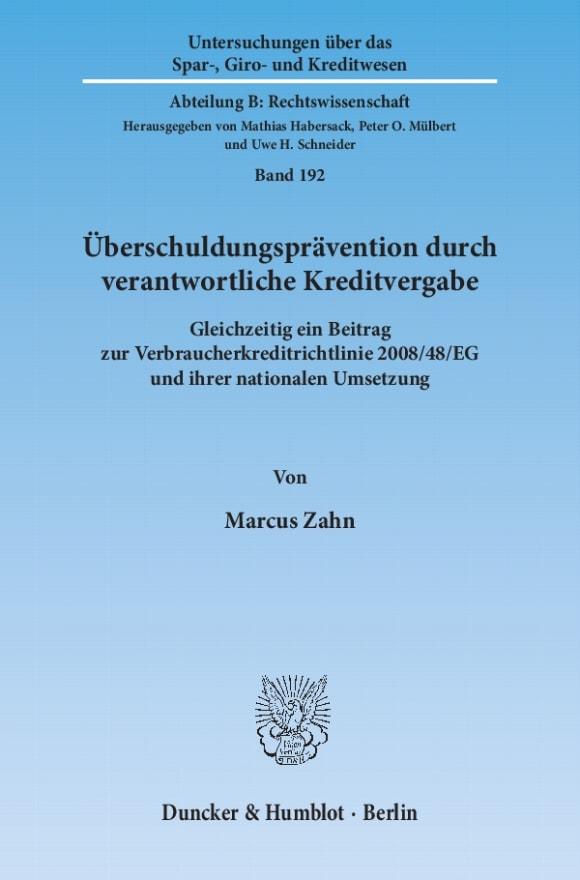 Cover Überschuldungsprävention durch verantwortliche Kreditvergabe