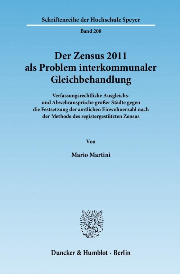 Cover Der Zensus 2011 als Problem interkommunaler Gleichbehandlung